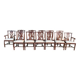 1970s Mahogany Chippendale Dining Chairs - Set of 12 For Sale