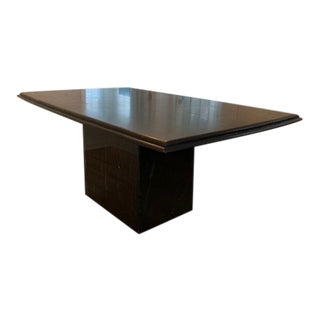 1980s Contemporary Solid Black Marble Dining Table For Sale