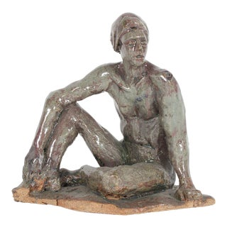 Modern Relaxed Male Nude Sculpture in Clay on Wood, 2005 For Sale