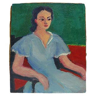 Mid-Century French Oil Painting Of Woman
