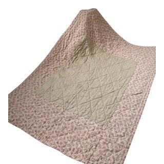 Antique 19th C. French Pique Provencal Fenetre Silk Cotton Quilt For Sale