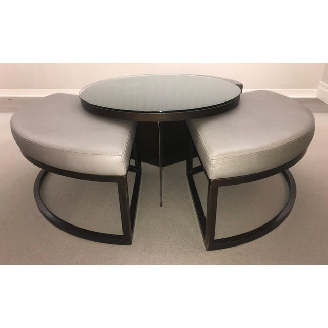 Transitional Round Coffee Table and Ottomans Set - 4 Pieces For Sale - Image 4 of 13