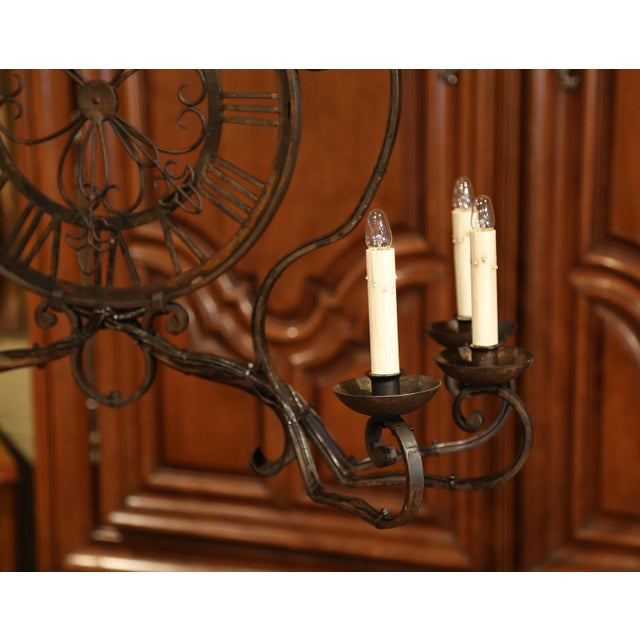Early 20th Century French Six-Light Iron Clock Chandelier With Original Finish For Sale - Image 9 of 10