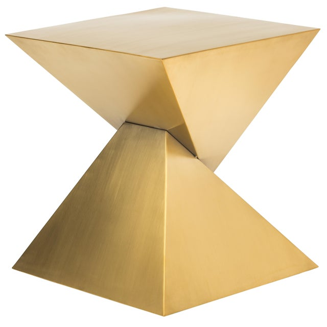 Modern Giza Steel Side Table In Gold For Sale - Image 3 of 8
