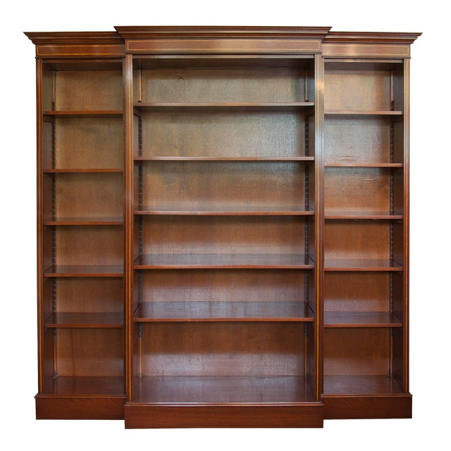 Early 21st Century English Satinwood Inlaid Mahogany Triple Bookcase For Sale - Image 5 of 5