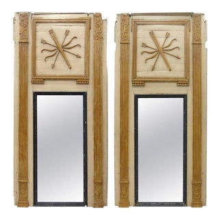 18th Century Boiserie Panels Mounted as Trumeau Mirrors - A Pair For Sale