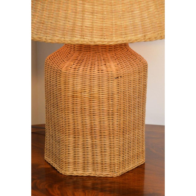 Wicker Vintage Wicker Lamp and Shade For Sale - Image 7 of 9