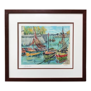 Late 20th Century Original Watercolor of Sailboats in a Harbor Signed & Numbered Lithograph For Sale