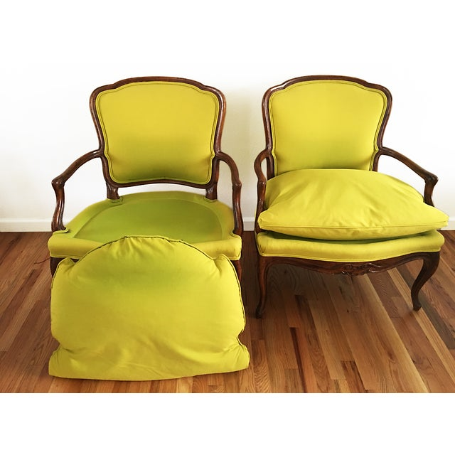 Vintage French Bergere Down Stuffed Chairs - Pair - Image 7 of 9