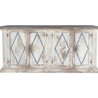 19th Century Italian Painted Enfilade Buffet With Diamond Detail For Sale