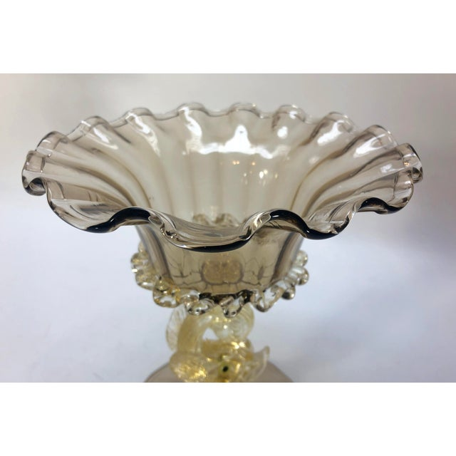 1970s 1970s Murano Glass Fish Compote Bowl Vase For Sale - Image 5 of 6