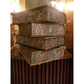 Vintage Oversized Leather Decorative Faux Books - Set of 4 Preview