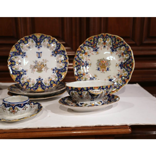 Blue 19th Century French Hand-Painted Plates and Dishes From Normandy - Set of 10 For Sale - Image 8 of 10