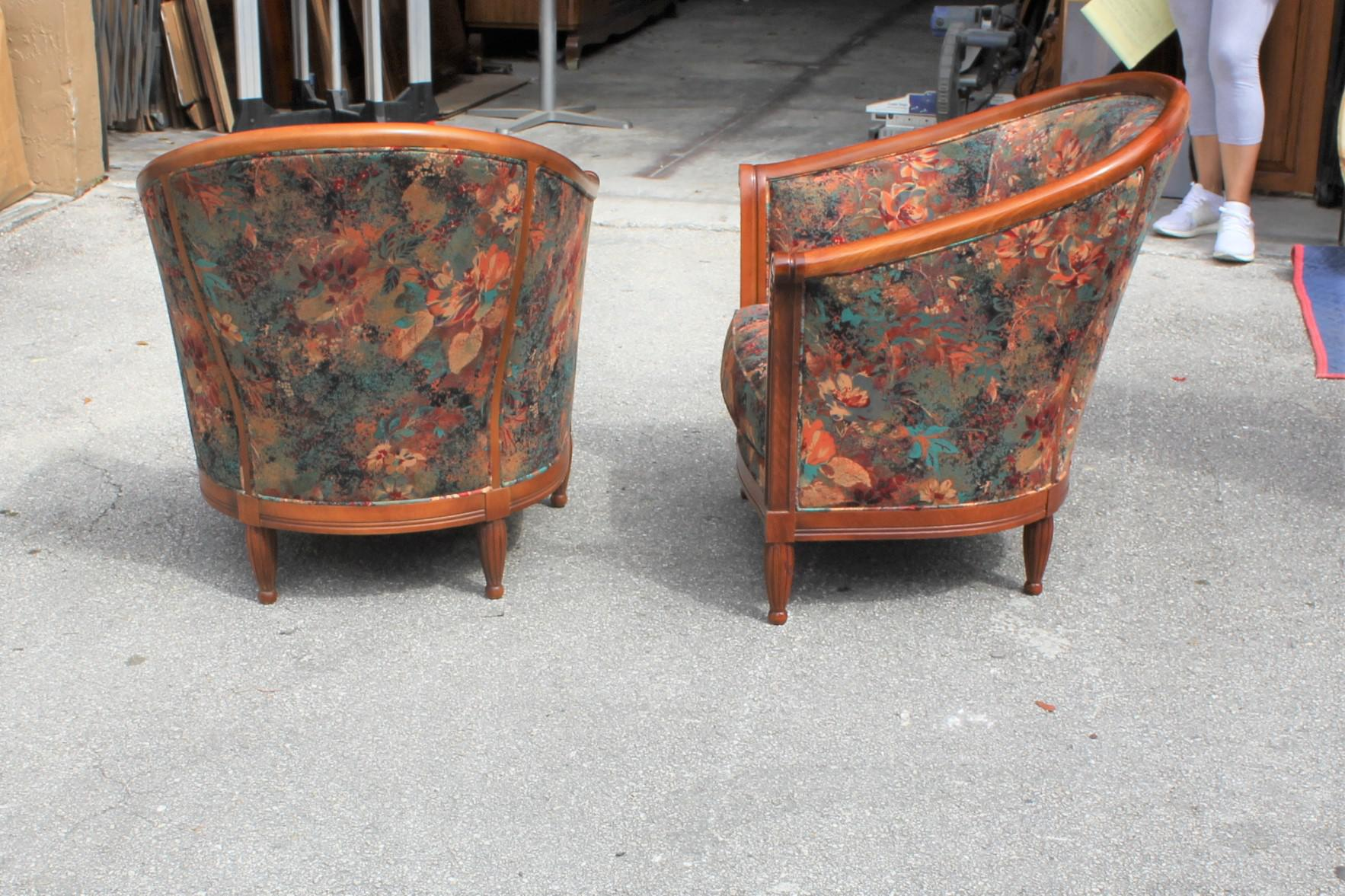 Attirant French Art Deco Club Chairs Solid Mahogany Attributed By Paul Follot Circa  1940s   A Pair