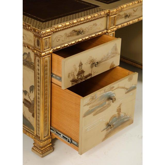Paint Chinoiserie Hand-Painted Parcel Gilt Partners Pedestal Desk For Sale - Image 7 of 12
