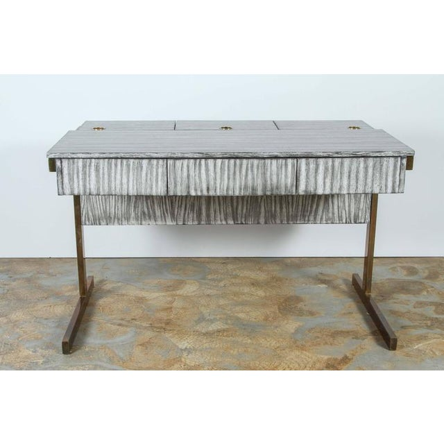 Not Yet Made - Made To Order Customizable Paul Marra Writing, File Desk in Gray Zebra Finish For Sale - Image 5 of 10