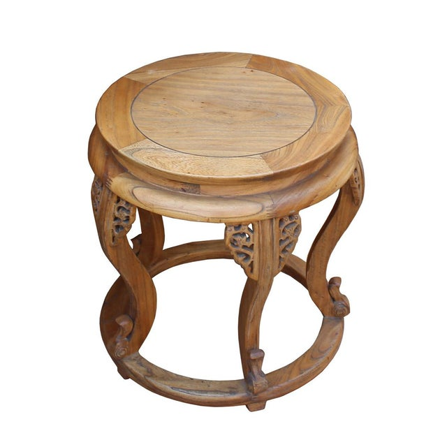 Chinese Round Curved Legs Wood Stool Table For Sale - Image 4 of 6