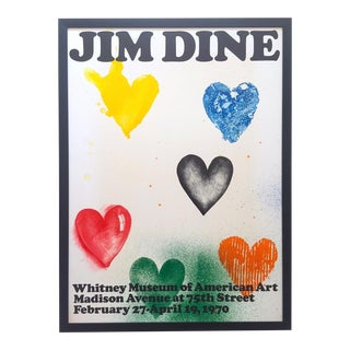 Jim Dine Rare Vintage 1970 Framed Silkscreen Print Whitney Museum Collector's Pop Art Exhibition Poster For Sale