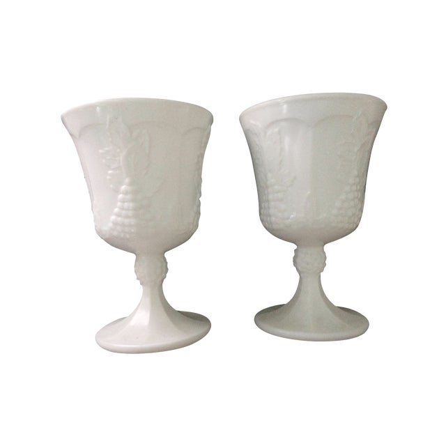 Vintage White Porcelain Goblets - A Pair - Image 1 of 5