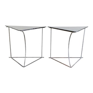 Modern Steel & Glass Side Tables - A Pair