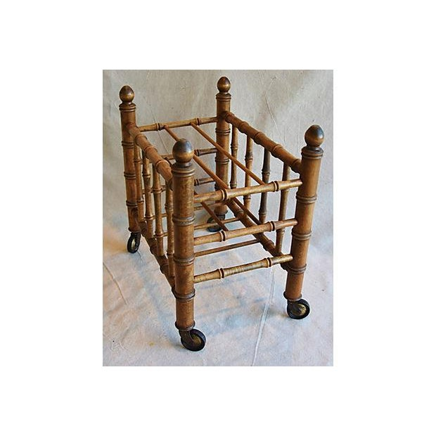 1920s Carved Wooden Bamboo-Style Magazine Rack Holder - Image 9 of 11