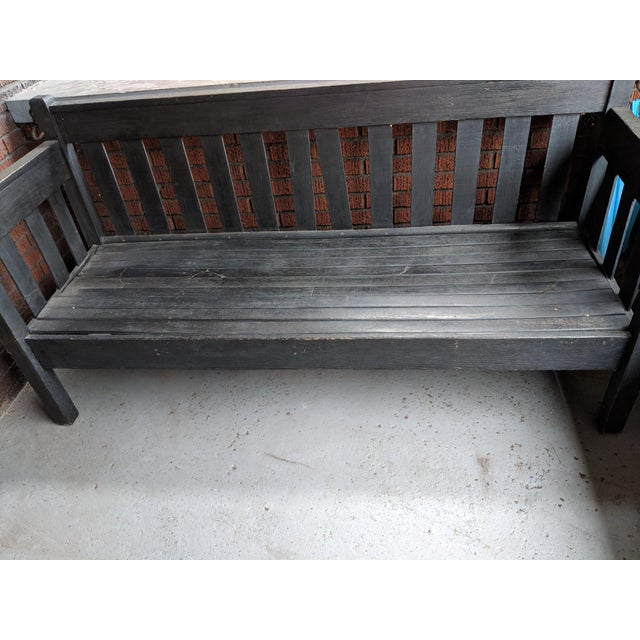 American Antique Heavy Wooden Porch Swing For Sale - Image 3 of 4