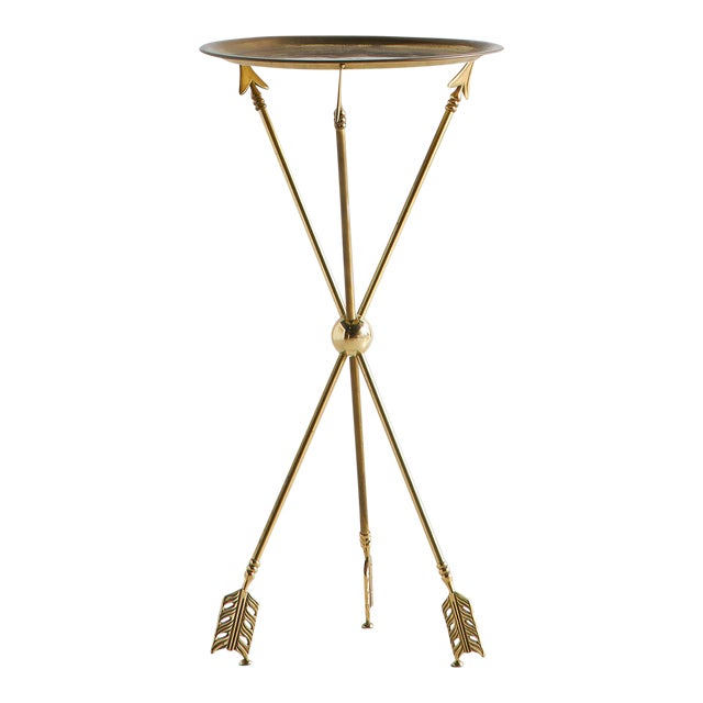 Brass Tripod Table With Arrow Motif Attributed to Maison Jansen For Sale