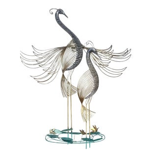 Curtis Jere Modern Two Peacock Wall Sculpture For Sale
