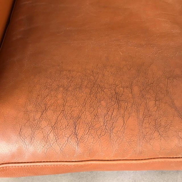 Animal Skin Vintage Danish Leather Sofa For Sale - Image 7 of 8