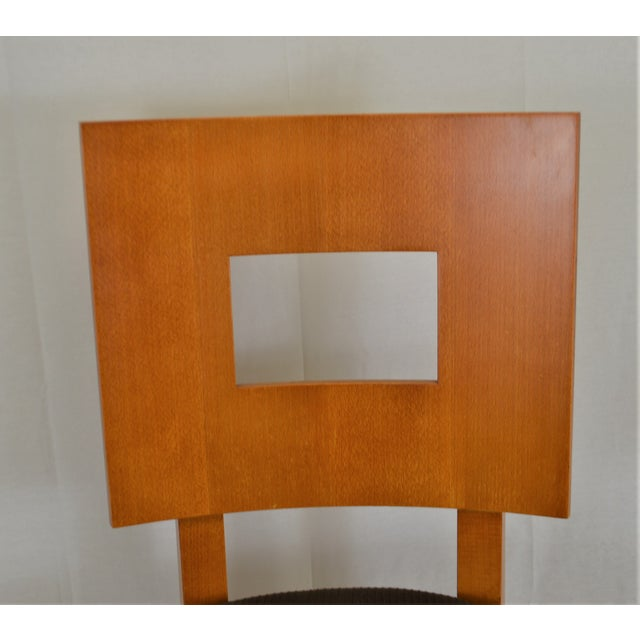 Contemporary Square Back Wooden Dining Chair For Sale - Image 4 of 8