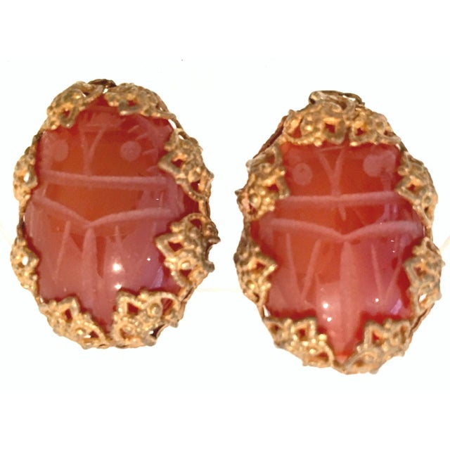 Mid-Century Mirian Haskell Russian Gold Carved Glass Scarab Earrings-Signed For Sale - Image 9 of 9