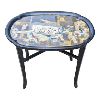 Vintage Mid-Century Modern Designer Eglomise Reverse Painted Coffee Tray Table For Sale
