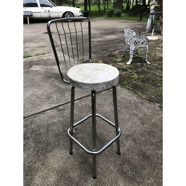 Silver Mid Century Chrome Bar Stools- a Pair For Sale - Image 8 of 9