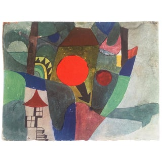 "Paul Klee Rare Vintage 1969 Abstract Modernist Lithograph Print "" With the Setting Sun "" 1919 For Sale"