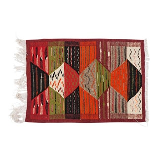 Flat Woven Small Berber Rug - 2′1″ × 3′1″ For Sale
