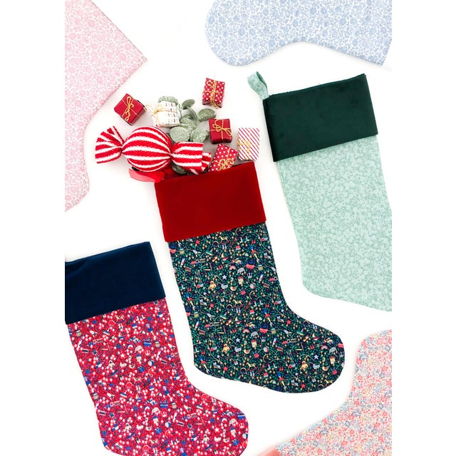 Traditional Liberty of London Sage Wiltshire Christmas Stocking with Velvet Cuff For Sale - Image 3 of 5