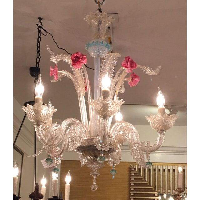 Superb Antique Venetian Glass 5 Lite Chandelier - Image 2 of 4
