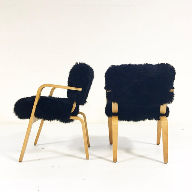 Forsyth One of a Kind Black Sheepskin Armchairs In The Style of Joe Atkinson for Thonet- Pair For Sale - Image 4 of 7