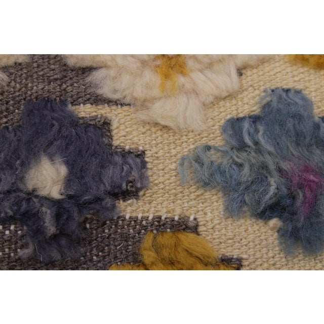 1990s Shabby Chic Moroccan High-Low Pile Albertin Wool Rug - 8′6″ × 10′2″ For Sale - Image 5 of 8