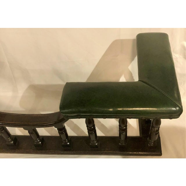Antique English Country Oak and Leather Fireside Bench, Circa 1890. For Sale - Image 4 of 6