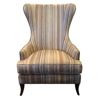 Striped Barrel Back Wing Chair For Sale