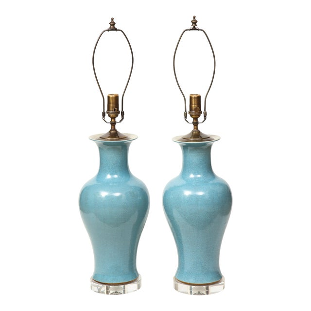 Crackle Glazed Blue Vase Lamps - A Pair For Sale