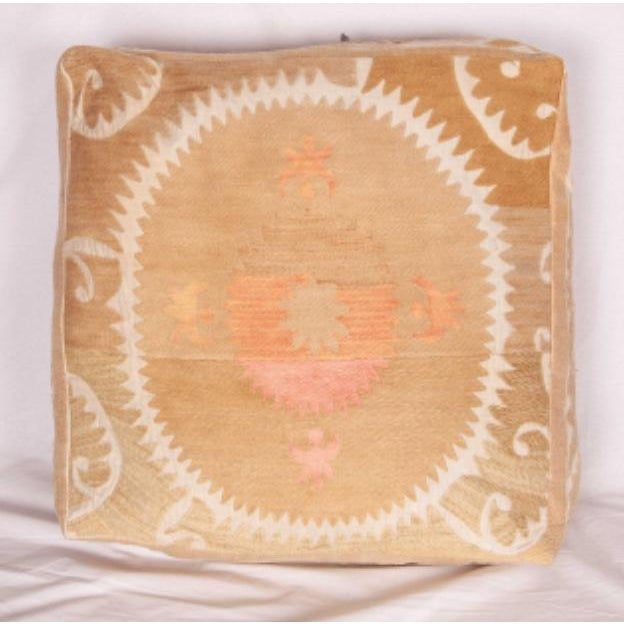 Boho Chic Mid Century Embroidered Suzani Floor Cushion For Sale - Image 3 of 6