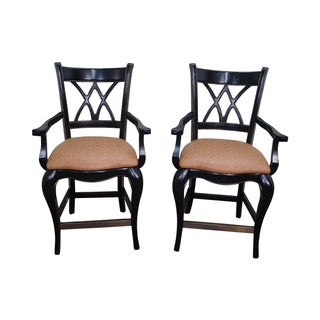 French Country Painted Arm Bar Stools - A Pair For Sale