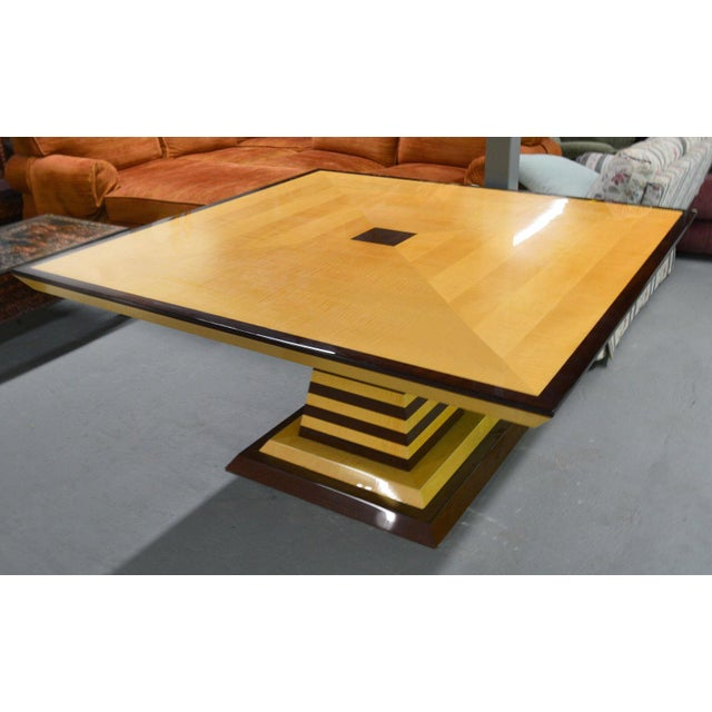 Post-modern square dining table by Stanley Friedman for Brueton Industries, White Sycamore and Wenge, 1990's, limited...