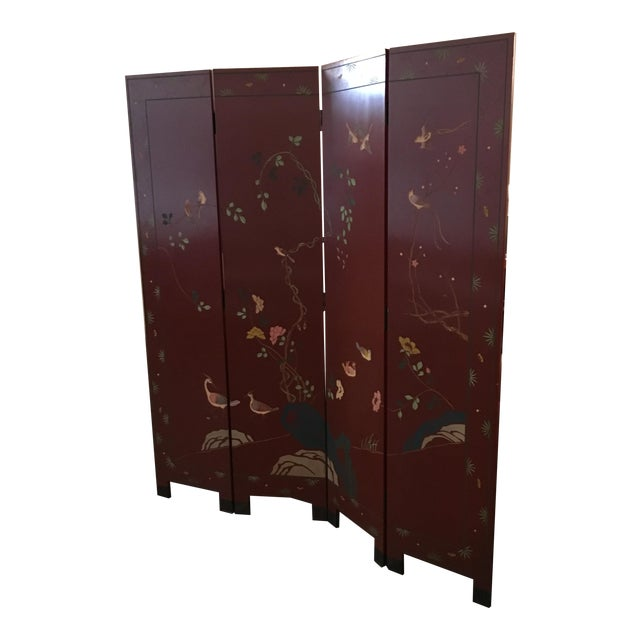 Signed Mid Century Modern Maitland Smith Four-Panel Asian Themed Wood & Brass Screen - Image 1 of 11