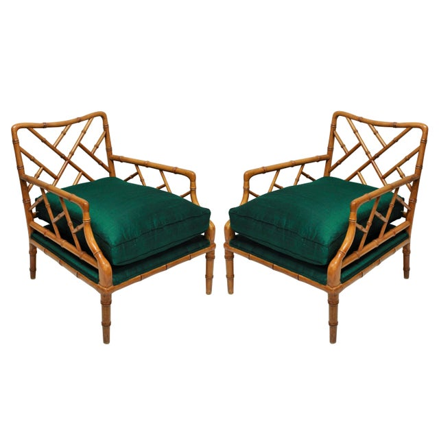 A Pair of Faux Bamboo Cockpen Armchairs For Sale - Image 6 of 6