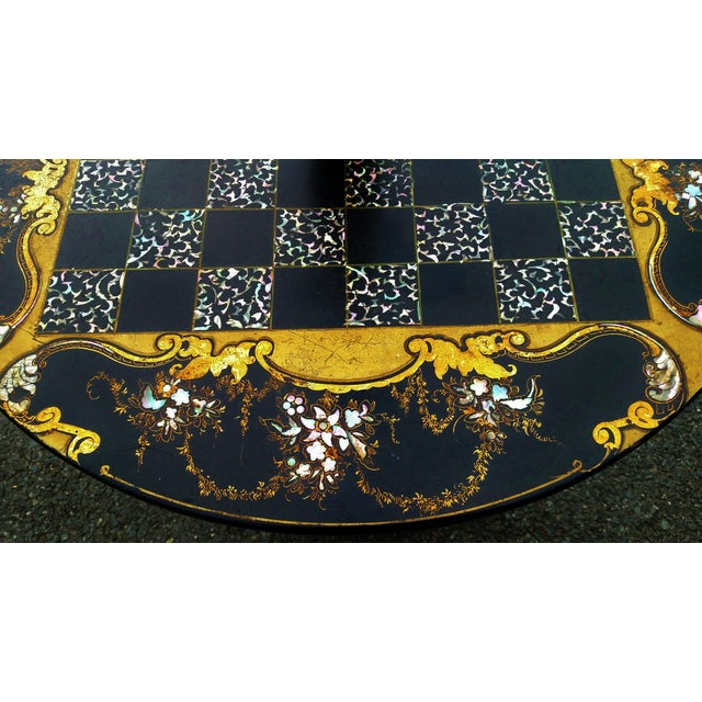 Antique ENGLISH Black Laquered PAPER MACHE Mother of Pearl LAMP TABLE Chess For Sale - Image 9 of 10