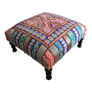 Oversized Indian Multi Color Patchwork Ottoman Floor Stool For Sale