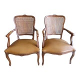 Image of 20th Century Louis XV Style Cane Back Chairs - a Pair